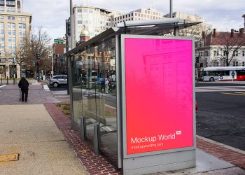 Free Lightbox Mockup. Ad Bus Stop Mockup