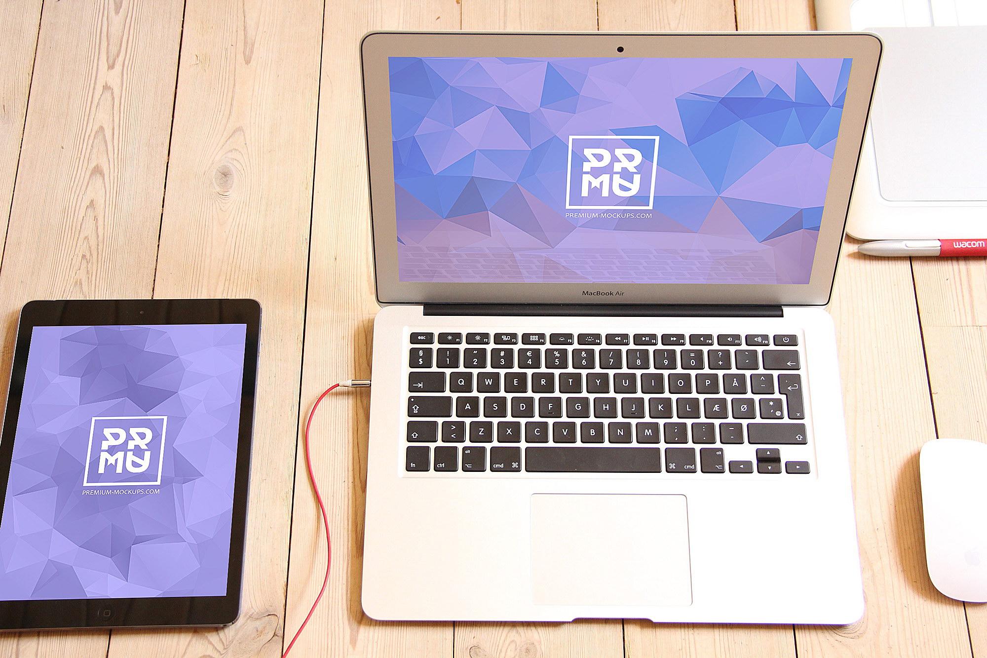 Free MacBook Mockup. iPad PSD Mockup