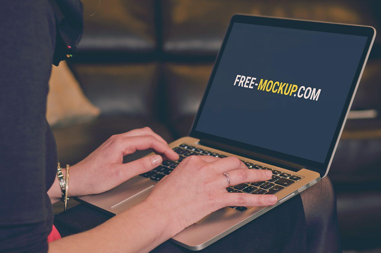 MacBook Air and Woman Mockup Free