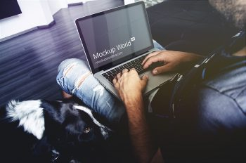 Man Working on a MacBook Pro Mockup