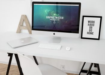 iMac Workspace Mockup Template