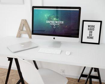 iMac Workspace Mockup Template