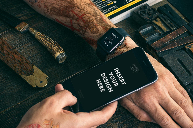 Apple Watch & iPhone 6 Mockups Free