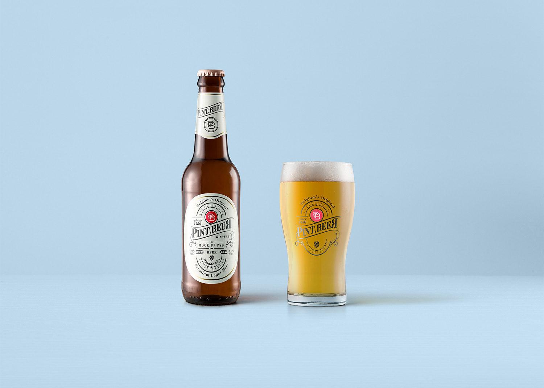 Beer Bottle & Glass Mockup