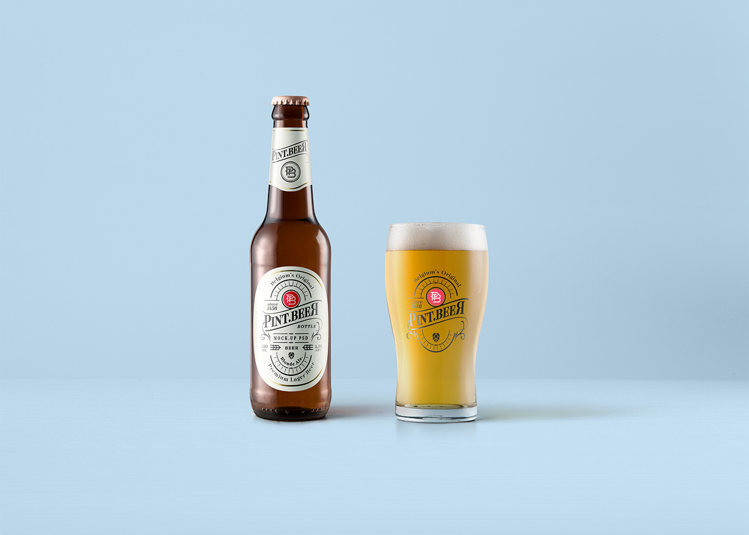 Beer Bottle & Glass Mockup