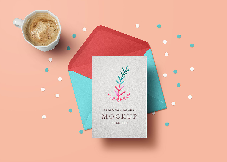 Holiday Greeting Card Mockup Free