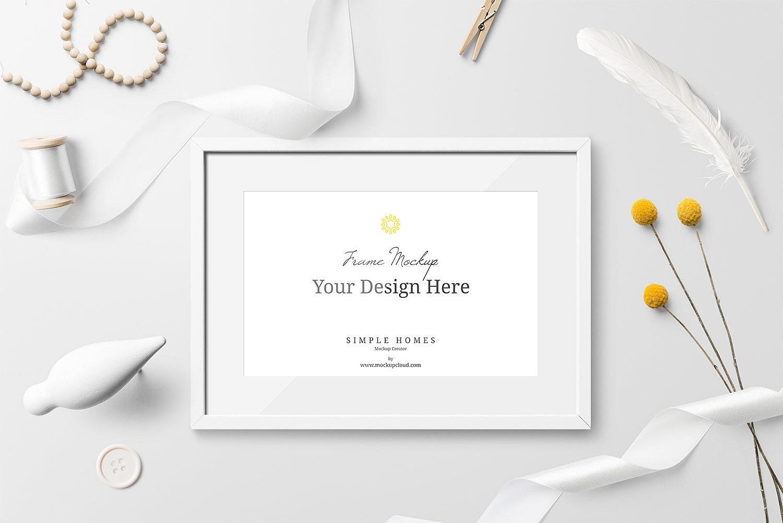 minimalistic photo frame mockup free psd