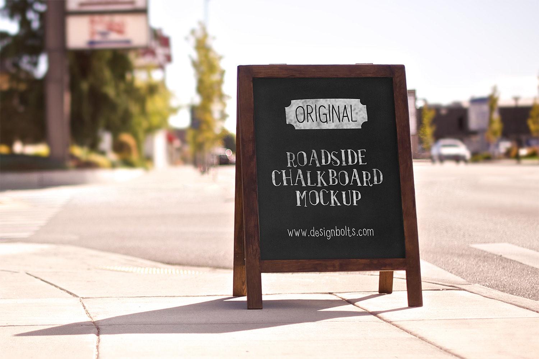 Roadside Chalkboard Mockup Free