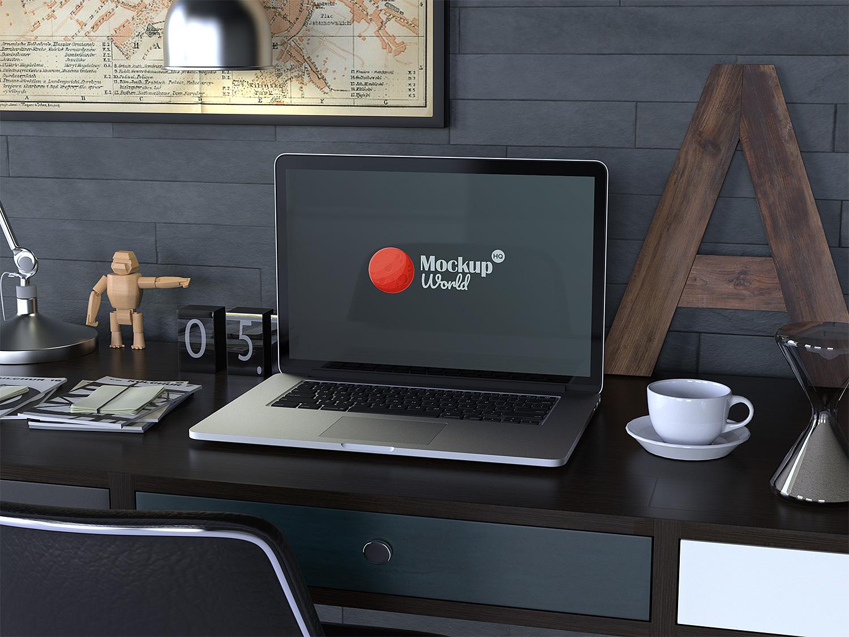 Workspace Macbook Pro Mockup Free