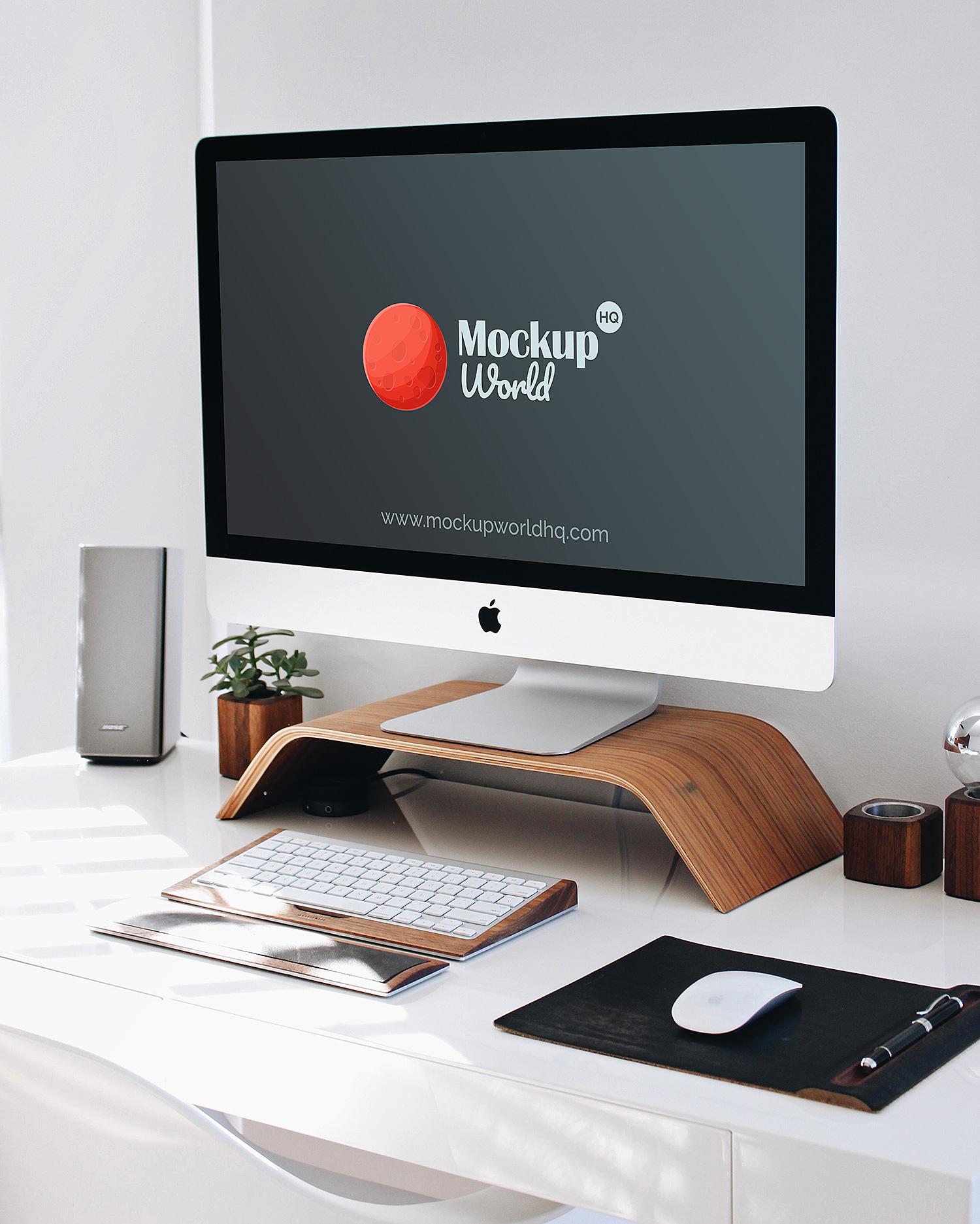 iMac Workspace Mockup PSD Free