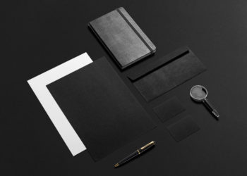 Black Stationery Mockup Free PSD