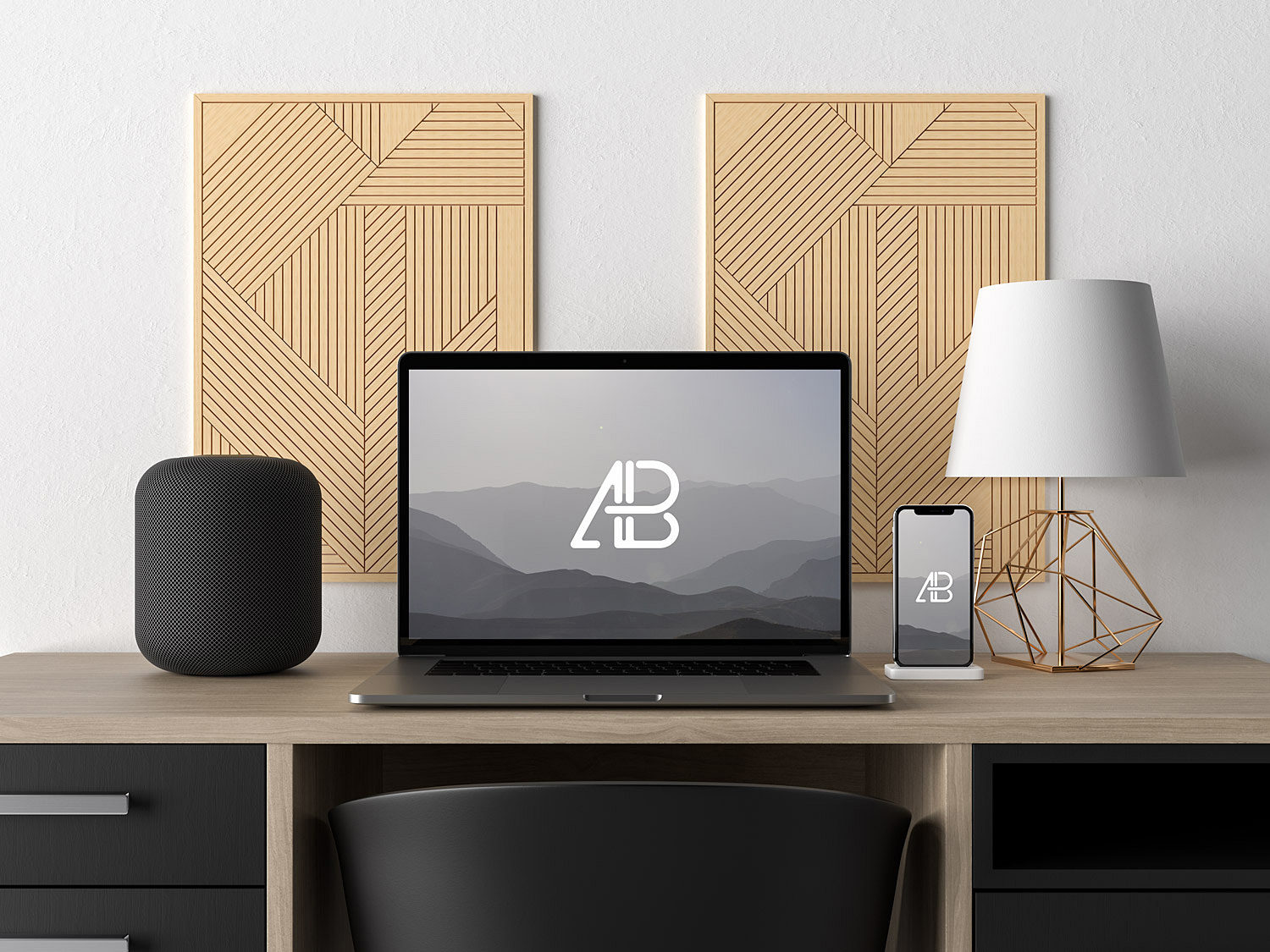 MacBook Pro and iPhone X Workspace Mockup