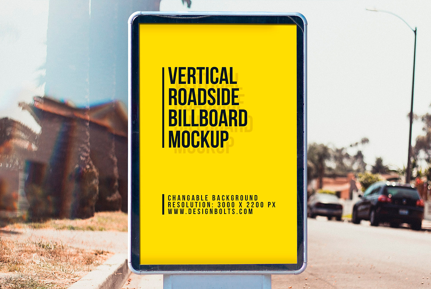 City Light Street Billboard Mockup Free