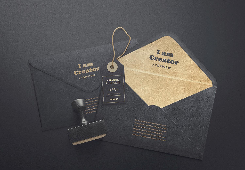 Envelopes and Tag Free Mockups