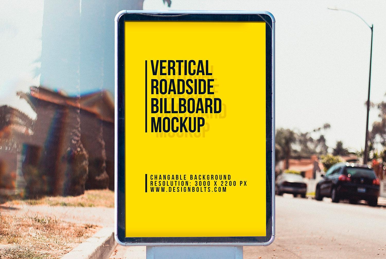City Light Street Billboard Mockup Free