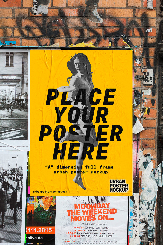 Urban Poster Mockup PSD Free