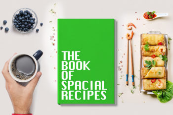Book Cover with Recipes Free Mockup