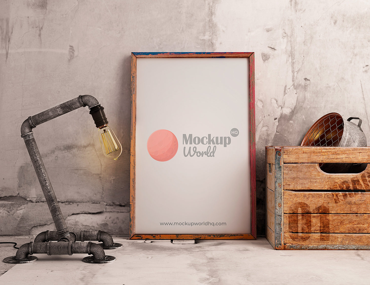Free Poster Frame Mockup Industrial Style