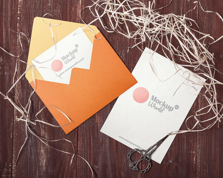 Invitation Card and Envelope Mockups Free