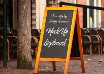 Outdoor Chalkboard Mockup Free PSD