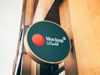 Wall Signage Mockup Free PSD