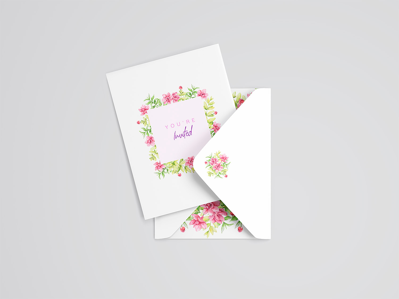 Wedding Card and Envelope Mockup
