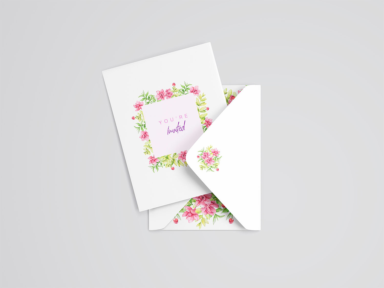 Wedding Card and Envelope Mockup