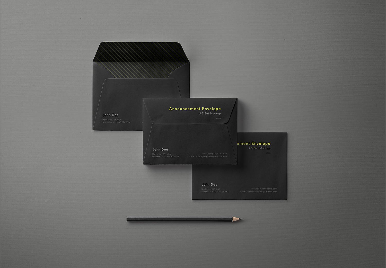 Free Black Envelope Mockup A6