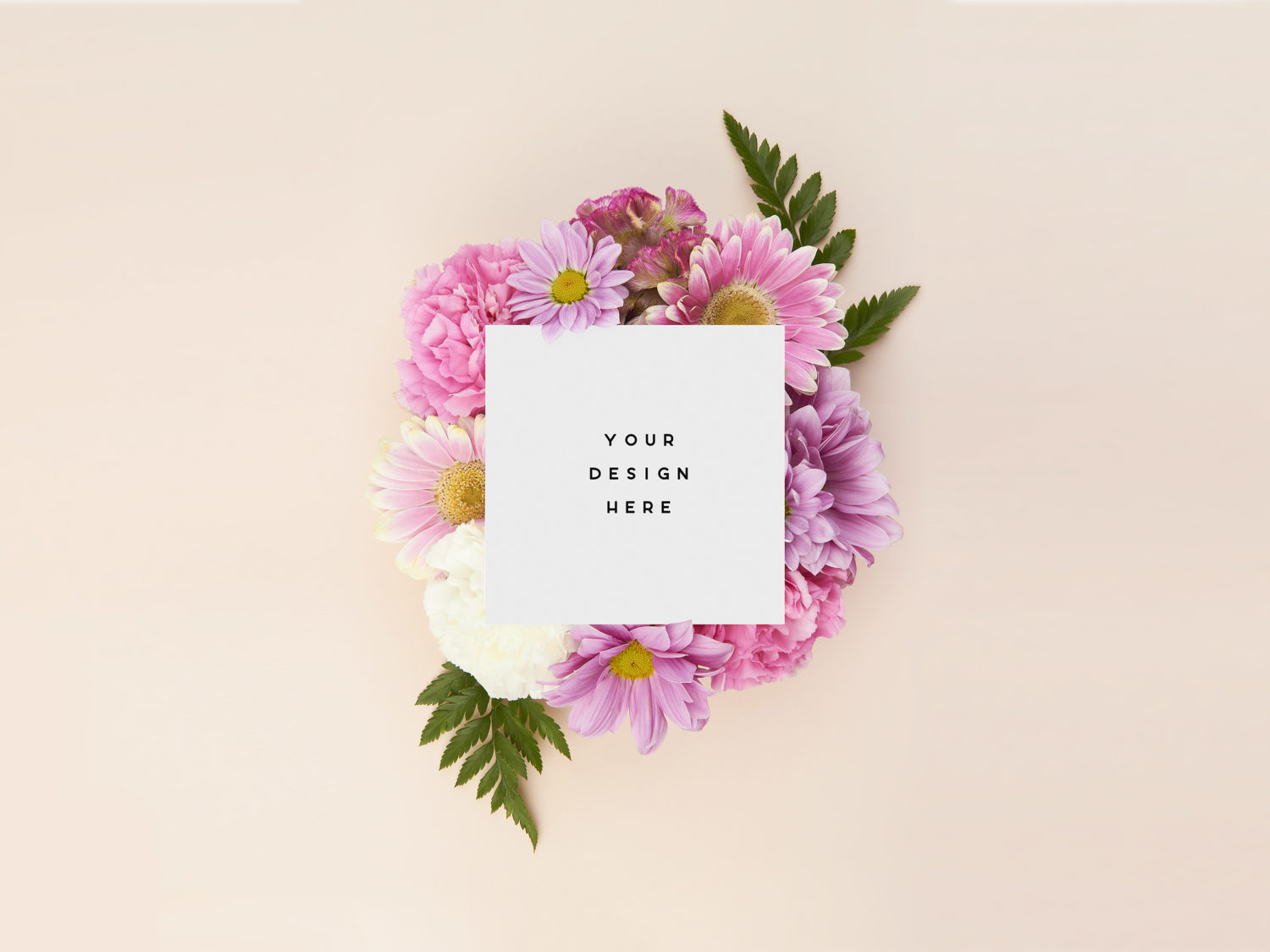 Thank You Card Mockup with Flowers