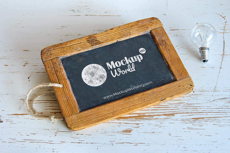 Wooden Frame Chalkboard Mockup