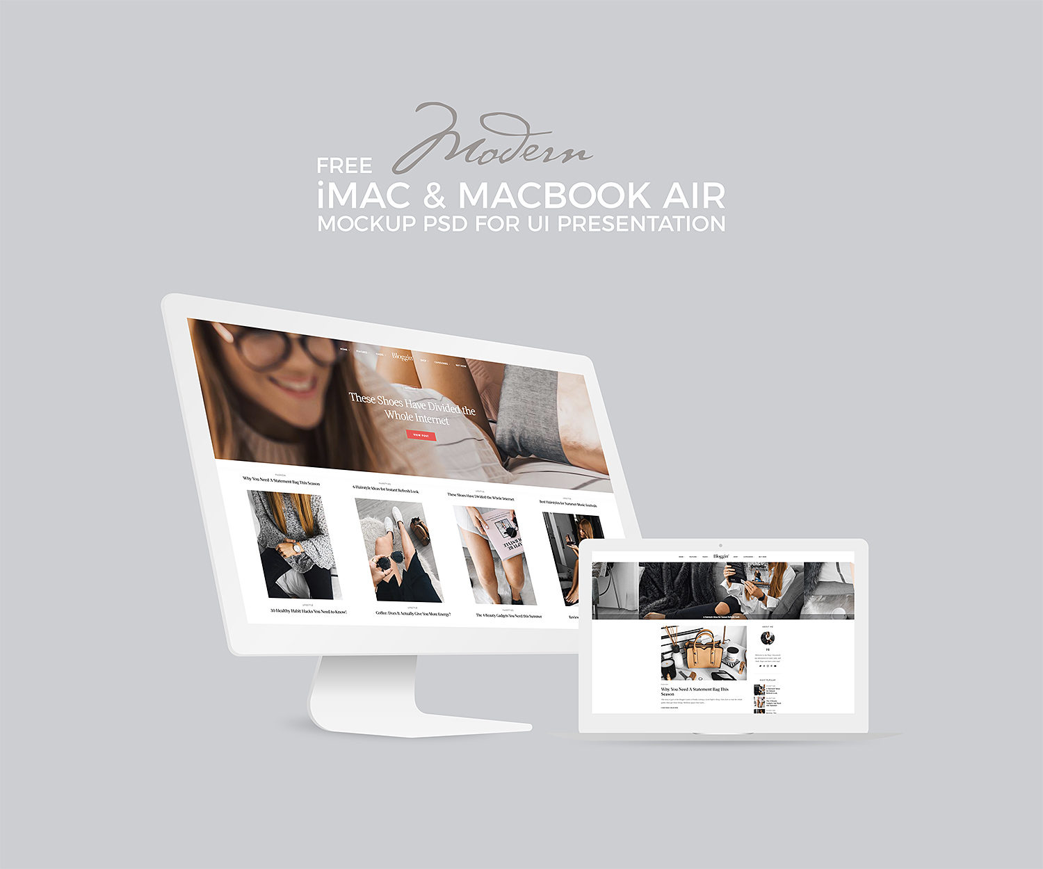 White iMac & MacBook Mockup UI Presentation