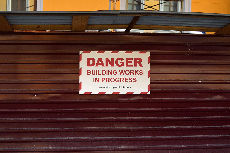 Building Works Sign Free Mockup