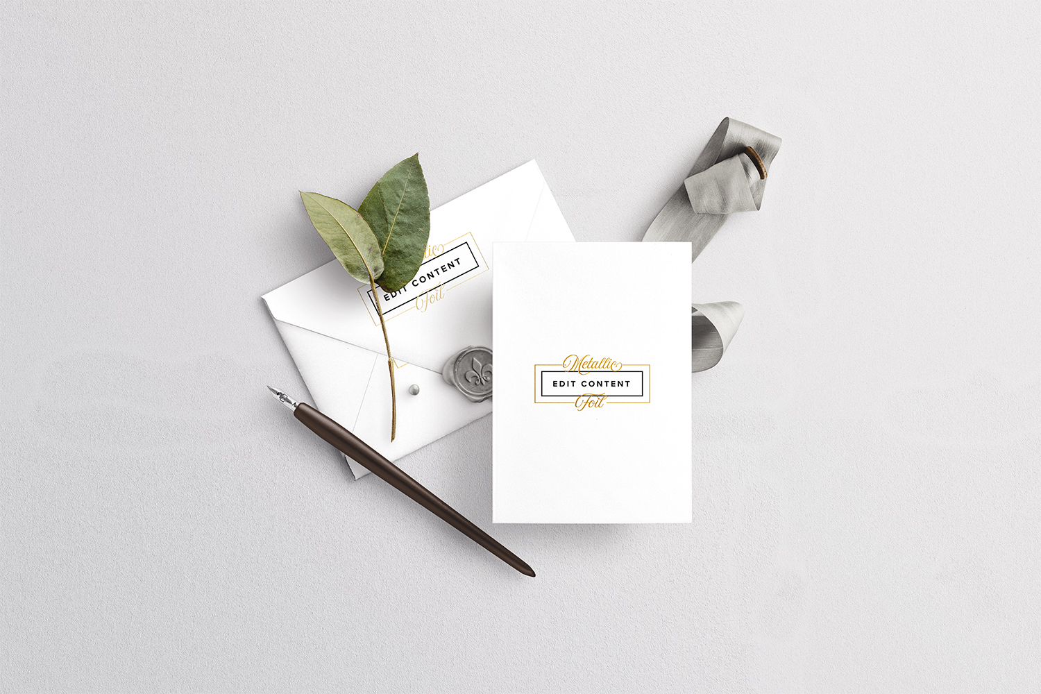 Free Wedding Card with Envelope Mockup