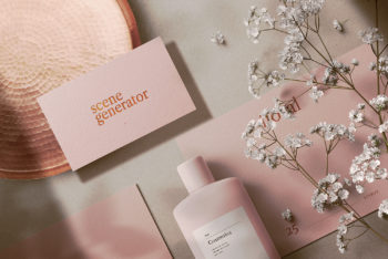Floral Cosmetics Stationary and Bottle Mockup Scene