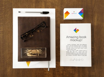 Book and Business Card Stationery Mockup