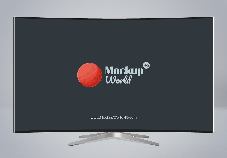 Curved TV Free Mockup