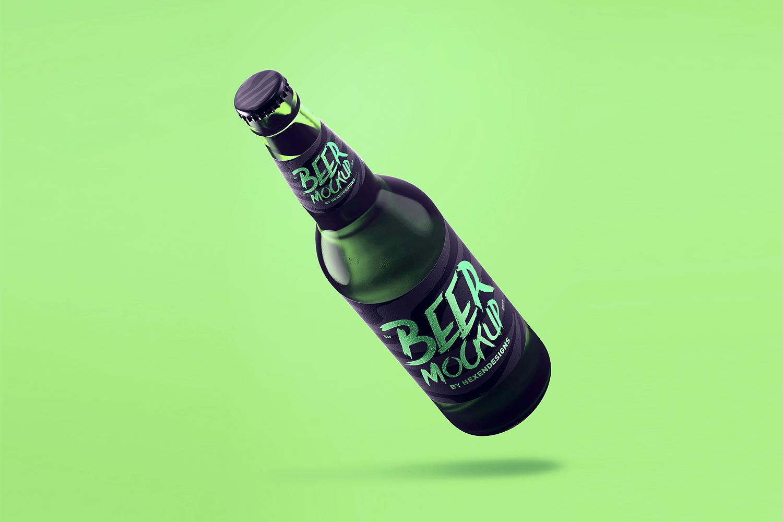 Free Beer Bottle PSD Mockup