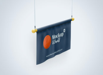 Free Flag Mockup - Half Side View