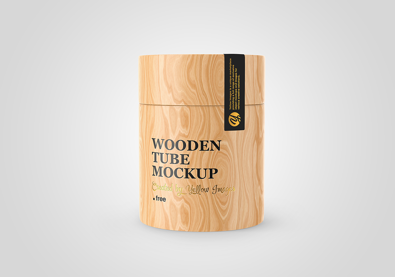 Wooden Tube Free PSD Mockup