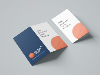 Folded Business Card Free Mockup