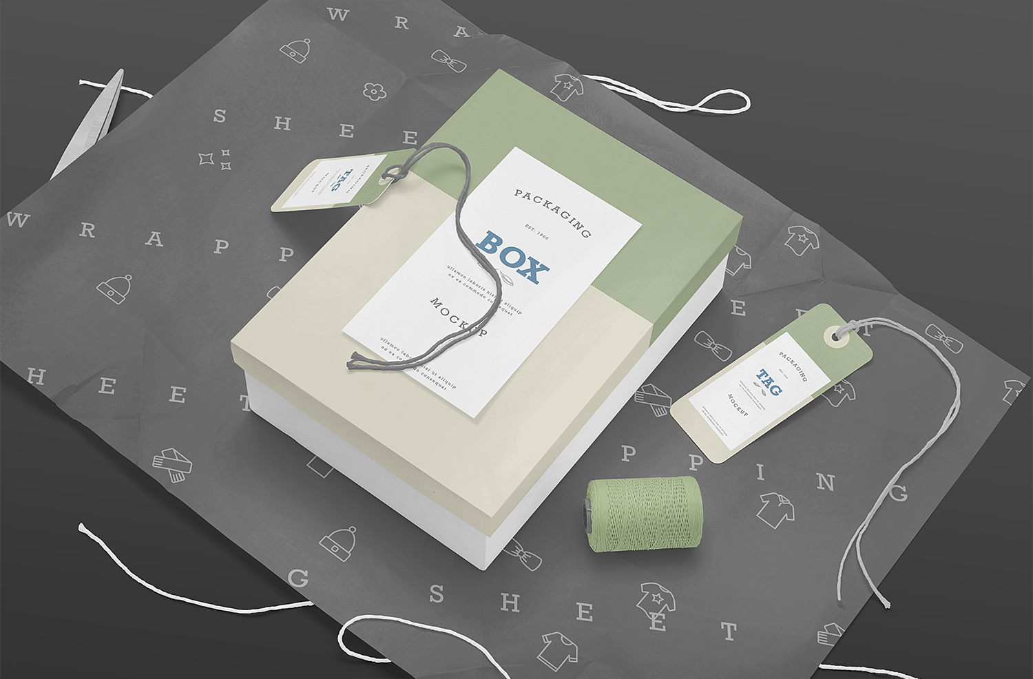 Box Packaging with Label Tag Free Mockup PSD