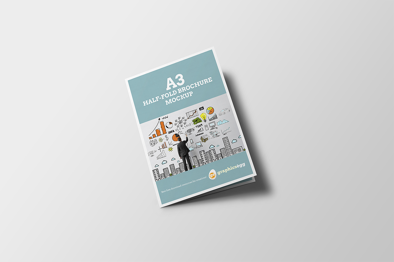 A3 Half-fold Brochure Mockup Free