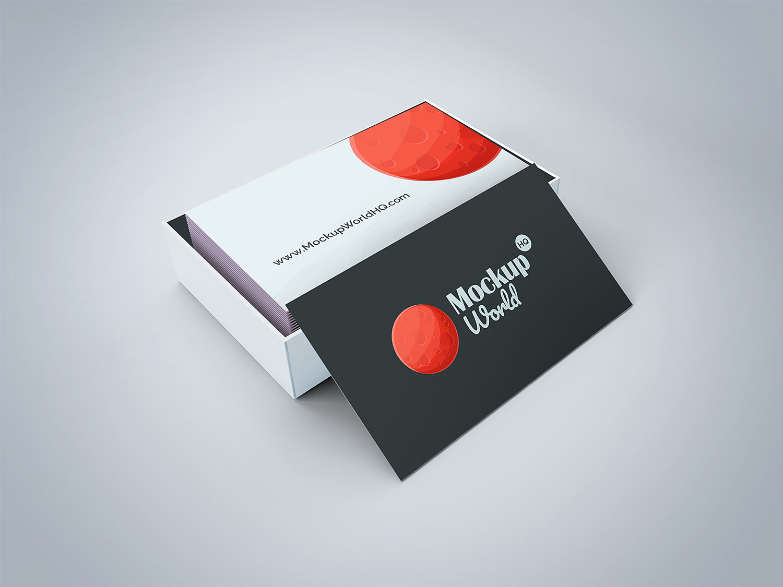 Business Card Free Mockup in a Cardboard Box