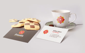 Business Card and Coffee Cup PSD Mockup