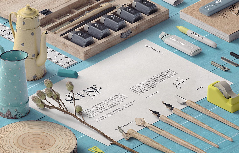 Сalligraphy Lettering Paper Free Mockup Scene