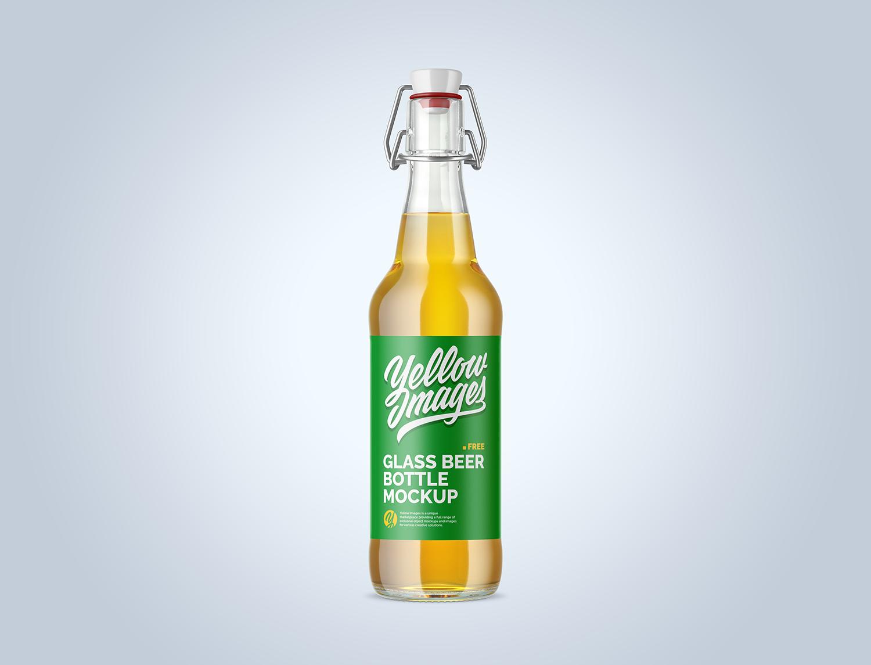 Clear Glass Beugel Beer Bottle Mockup