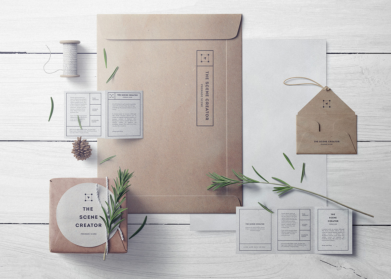 Craft stationery branding free mockup scene