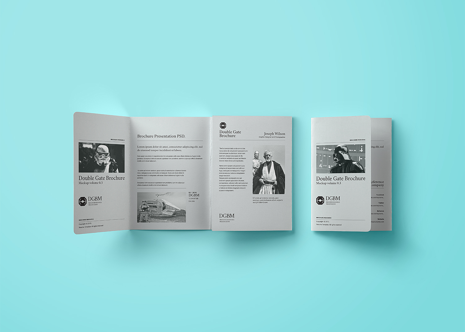 Double Gate Fold Brochure Free Mockup
