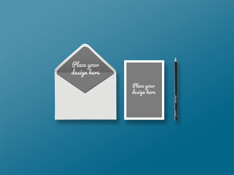 Envelope with Greeting Card Presentation Mockup