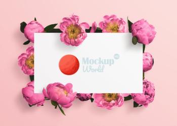 Floral Peonies Logo Artwork Mockup